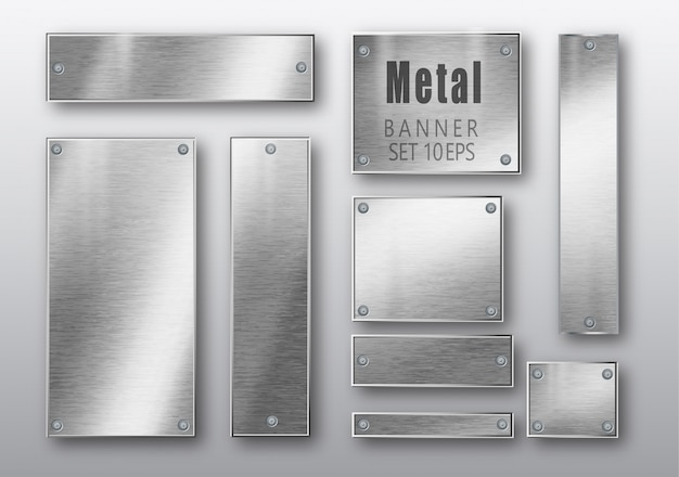 Banner in metallo set realistici.