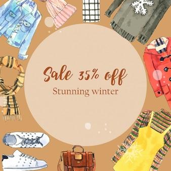 Banner in stile invernale con abiti ad acquerello, cappello e borsa in lana