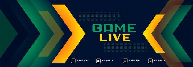 Banner in stile sport in streaming di gioco online