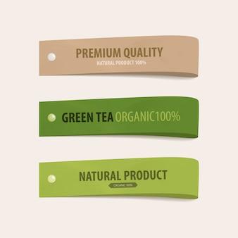 Banner in tag etichetta verde naturale.