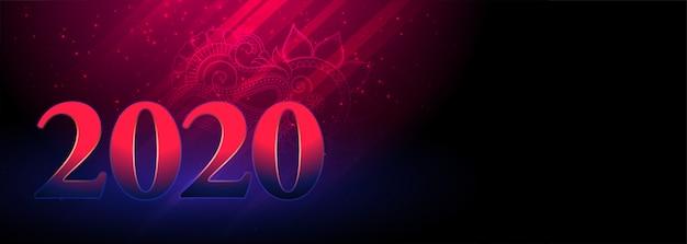 Banner incandescente di felice anno nuovo 2020