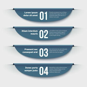 Banner infografici. 3d etichette colorate con passaggi e opzioni. informazioni grafiche per layout e presentazione