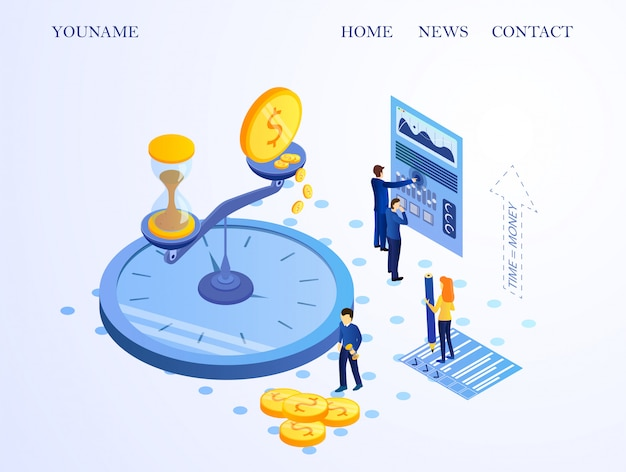 Banner informativo time money cartoon