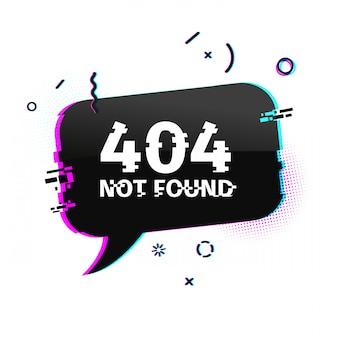 Banner internet modello con effetto glitch. pagina del sito web di layout bolla nera orizzontale con particelle rotte. pagina di errore banner con grafica pixel e elemento di arresto geometrico.