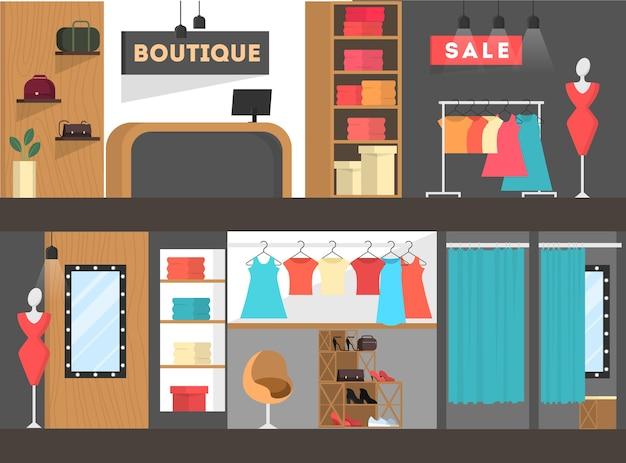 Banner interni negozio di abbigliamento. donna nel camerino