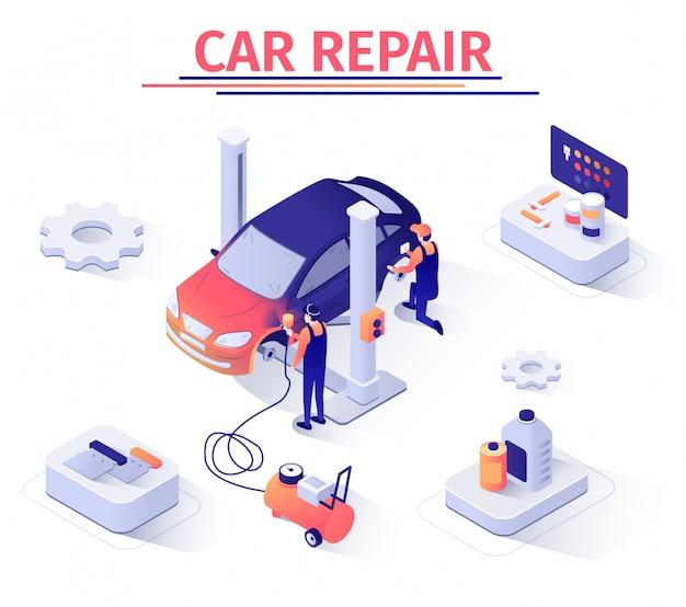 Banner isometrica con centro di riparazione di riparazione auto