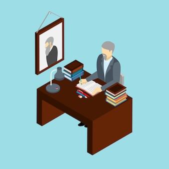 Banner isometrica di professione al lavoro