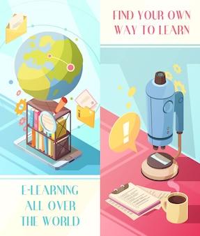 Banner isometrici verticali e-learning con formazione online in tutto il mondo e il proprio modo di studiare