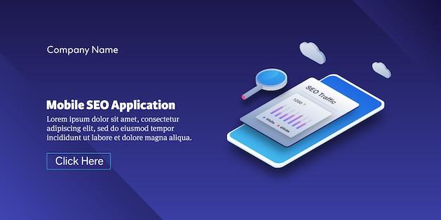 Banner isometrico applicazione mobile seo
