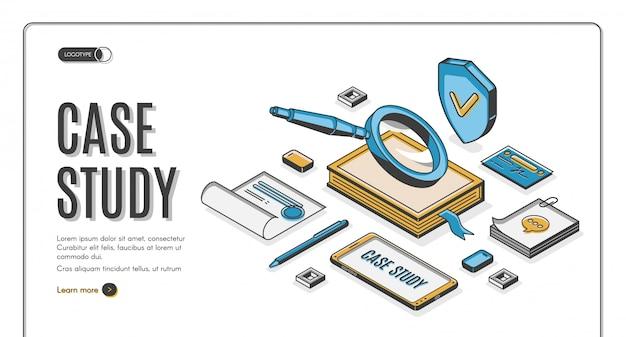 Banner isometrico caso di studio, ricerca di informazioni