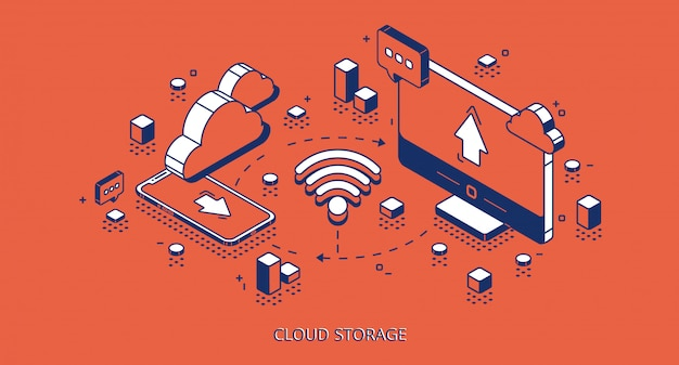 Banner isometrico cloud storage, tecnologia digitale