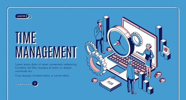 Banner isometrico di gestione del tempo