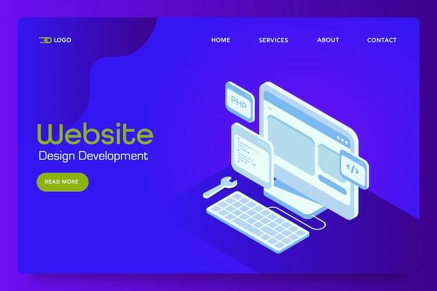 Banner isometrico di sviluppo del sito web