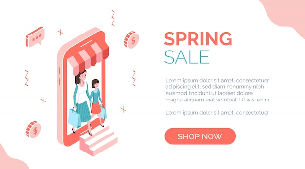 Banner isometrico di vendita di primavera con le persone