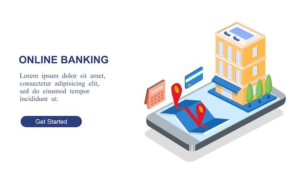 Banner isometrico moderno di servizi bancari online