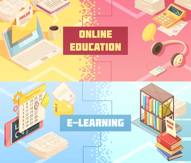 Banner isometrico orizzontale di formazione online