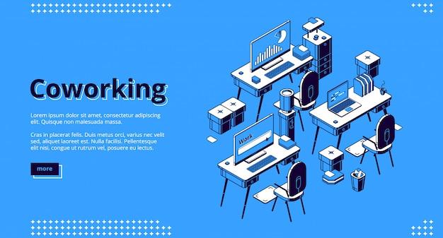 Banner isometrico spazio di coworking. lavoro di squadra