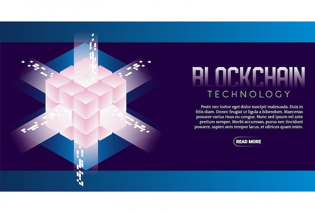 Banner isometrico tecnologia blockchain