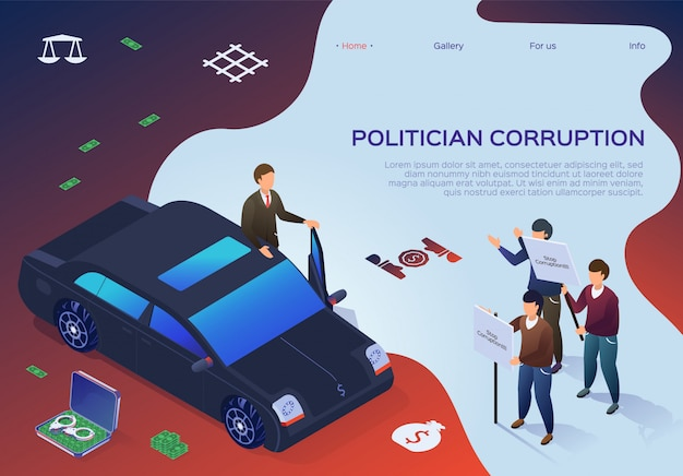 Banner lettering politician corruption cartoon.