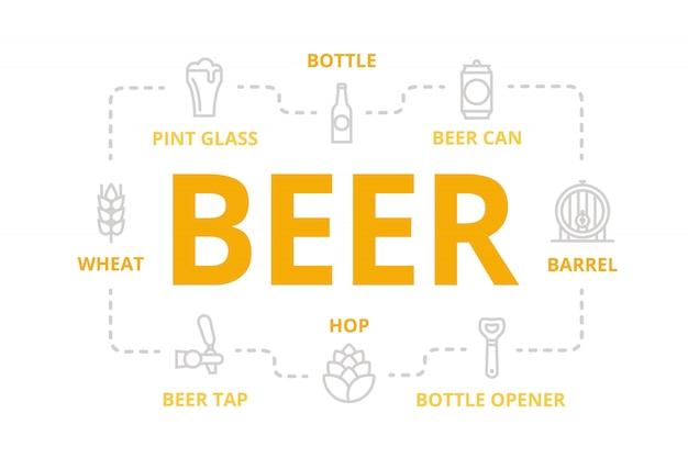 Banner linea birra per concetto di design.