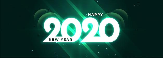 Banner lucido incandescente di felice anno nuovo 2020