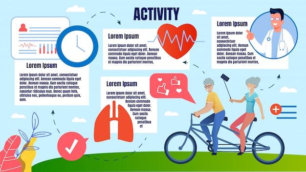Banner luminoso attività fisica persone in età avanzata.
