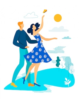 Banner luminoso campeggio coppia in amore cartoon.
