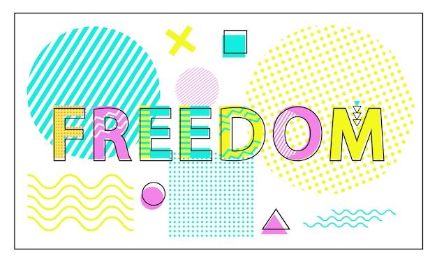 Banner luminoso di libertà con figure geometriche