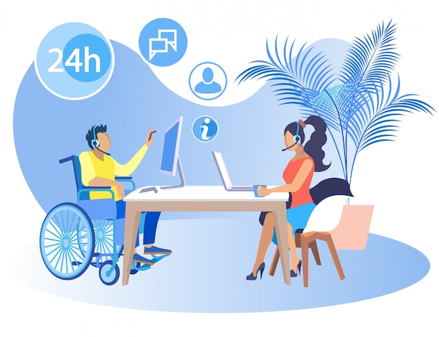 Banner luminoso per disabili call center. il professionista funziona bene in squadra. tipo in sedia a rotelle che lavora nell'ufficio con la ragazza che si siede allo stesso tavolo, piano. illustrazione.