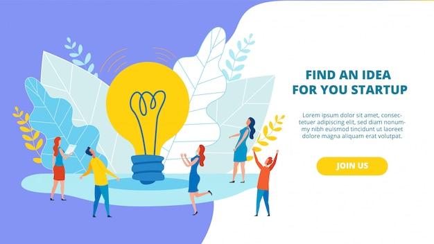 Banner luminoso trova un'idea per il tuo appartamento startup.