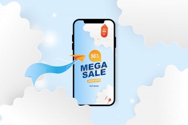 Banner mega sale in smartphone. offerta speciale 50% con aereo e nuvole ritagliate di carta.