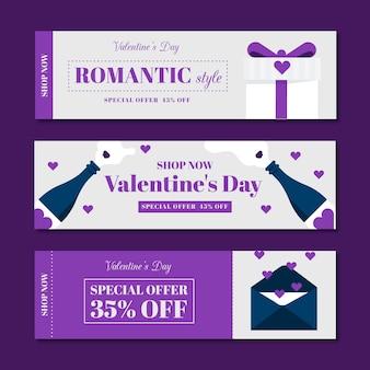 Banner mega vendita design piatto di san valentino