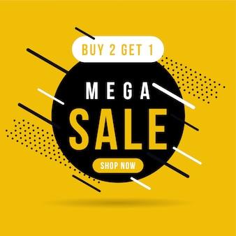 Banner mega vendita nero e giallo, acquista 2 ottieni 1.