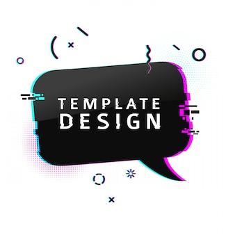 Banner modello con effetto glitch. poster di layout bolla discorso nero orizzontale con particelle rotte. banner con grafica pixel ed elemento geometrico di crash.