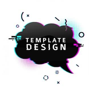 Banner modello con effetto glitch. poster di layout bolla discorso nuvola nera orizzontale con particelle rotte. banner con grafica pixel ed elemento geometrico di crash.