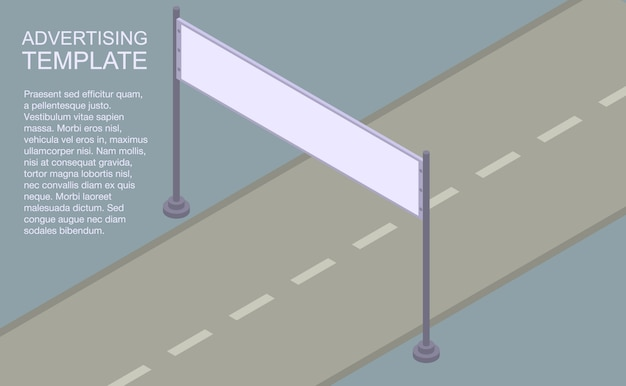 Banner modello di pubblicità, stile isometrico