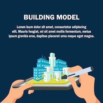 Banner modello di sito di costruzione. paesaggio urbano 3d.