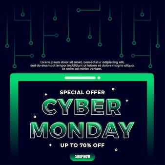 Banner modello di tecnologia cyber monday
