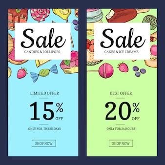 Banner modello di vendita di dolci disegnati a mano