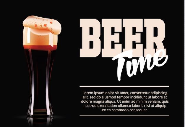 Banner modello elegante bicchiere di birra