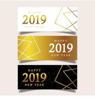 Banner modello nuovo anno con elementi geometrici