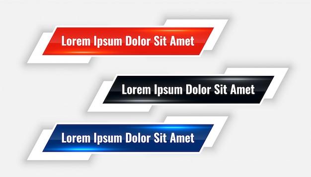 Banner moderno dei terzi inferiori impostato in tre colori