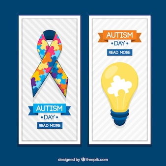 Banner nastro e lampadina per il giorno autismo
