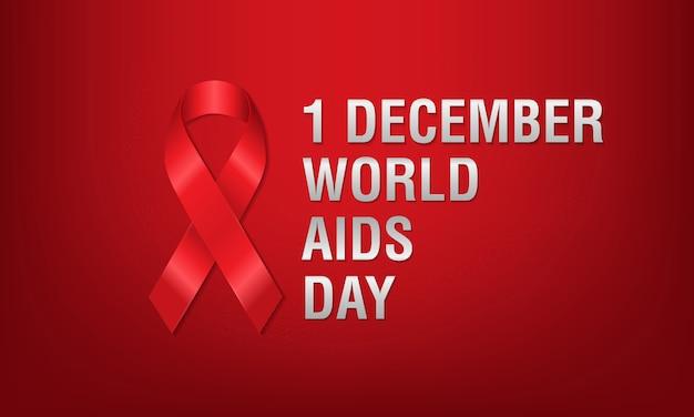 Banner nastro rosso con simbolo per la giornata mondiale dell'aids, 1 dicembre.