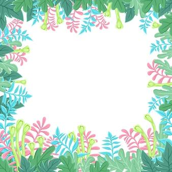Banner naturale con foglie verdi stilizzate. fogliame primaverile o estivo