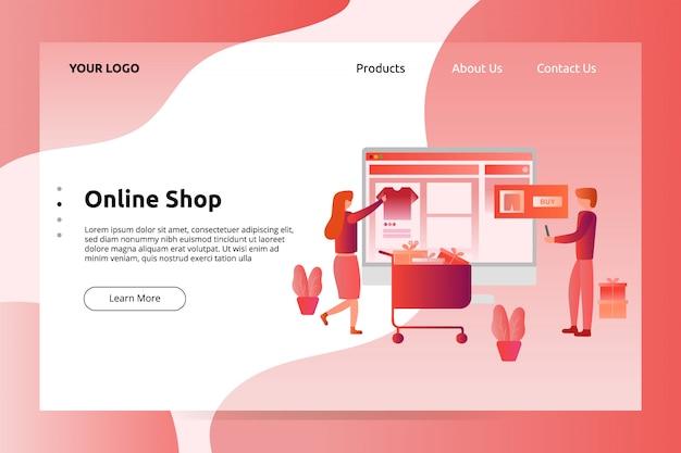 Banner negozio online e illustrazione pagina di destinazione