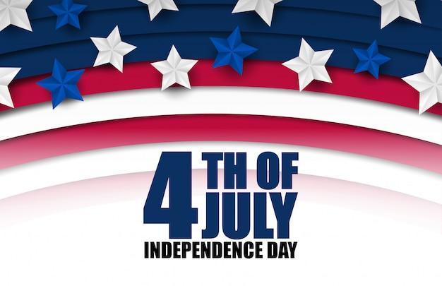 Banner o poster del 4 luglio nei colori e nella decorazione della bandiera degli stati uniti d'america. felice giorno dell'indipendenza.