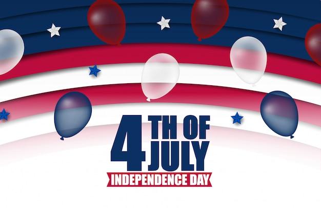 Banner o poster del 4 luglio nei colori e nella decorazione della bandiera degli stati uniti d'america. illustrazione. felice giorno dell'indipendenza.