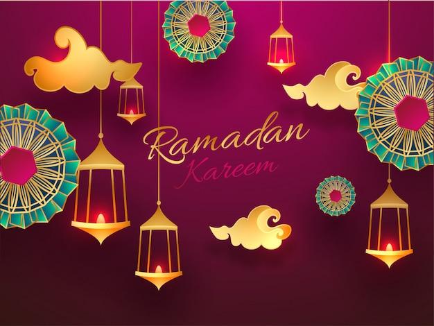 Banner o poster di ramadan kareem decorato con appeso il