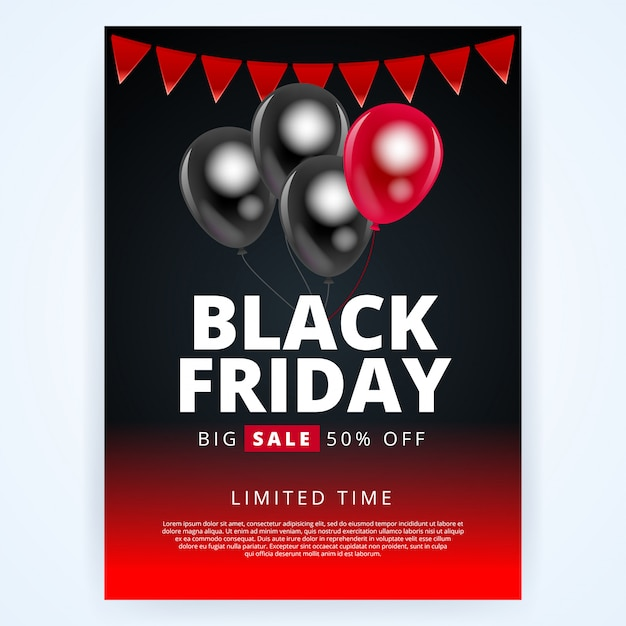 Banner o poster di vendita del black friday per negozi
